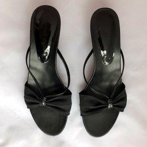 Donald J. Pliner Shoes - Donald Pliner Black Kitten-Heel Slide Sandals 7.5